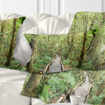 Walk Way in Deep Forest Landscape Photo Pillow Size: 12 x 20, Product Type: Lumbar Pillow