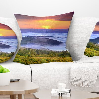 Sunrise over Water Landscape Photo Pillow Size: 18 x 18, Product Type: Throw Pillow