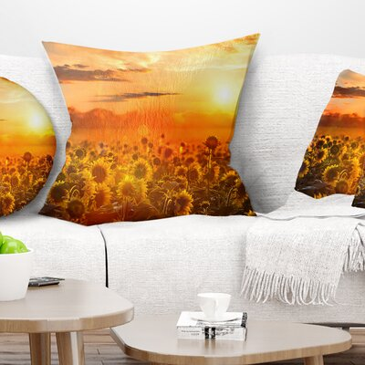 Sunset over Sunflowers Floral Pillow Size: 18 x 18, Product Type: Throw Pillow