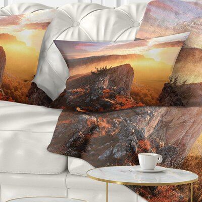 Sunrise in Ai Petri Mountains Landscape Photo Pillow Size: 12 x 20, Product Type: Lumbar Pillow