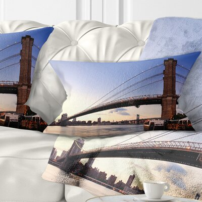 Brooklyn Bridge in New York City Cityscape Pillow Size: 12 x 20, Product Type: Lumbar Pillow