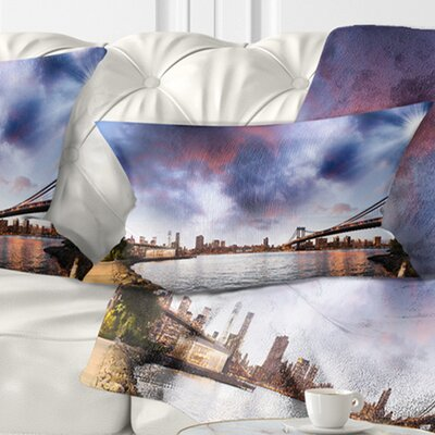 Brooklyn Bridge over East River Cityscape Pillow Size: 12 x 20, Product Type: Lumbar Pillow