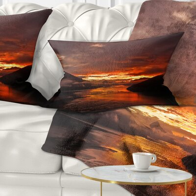 Sunrise in Cloudy Day New Zealand Landscape Photography Pillow Size: 12 x 20, Product Type: Lumbar Pillow
