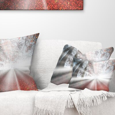 Sun Rays to Foggy Forest Landscape Photo Pillow Size: 12 x 20, Product Type: Lumbar Pillow