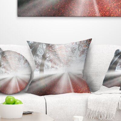 Sun Rays to Foggy Forest Landscape Photo Pillow Size: 16 x 16, Product Type: Throw Pillow