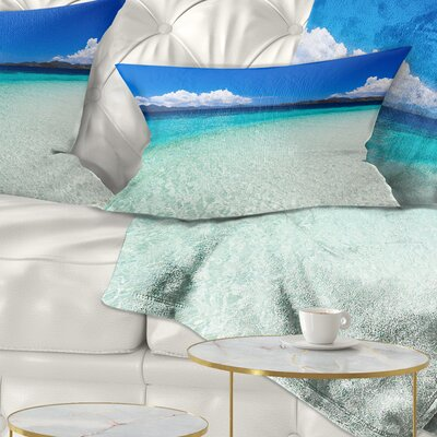 Vacant Beach with Water Seascape Pillow Size: 12 x 20, Product Type: Lumbar Pillow