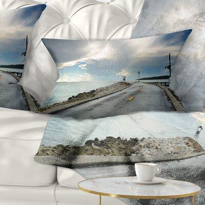 Pathway into the Ocean Sea Bridge Pillow Size: 12 x 20, Product Type: Lumbar Pillow