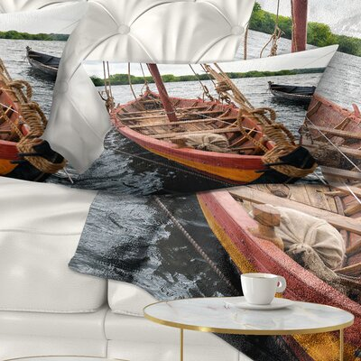 Wooden Boat Seascape Pillow Size: 12 x 20, Product Type: Lumbar Pillow