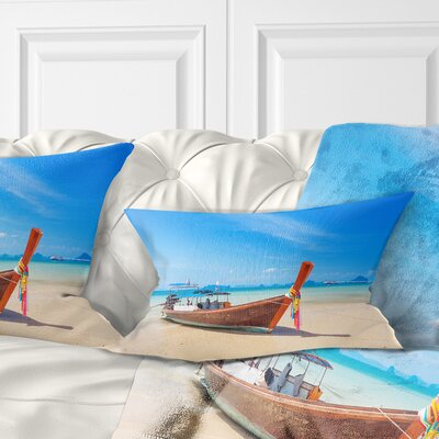 Tropical Beach with Boat Seashore Photo Pillow Size: 12 x 20, Product Type: Lumbar Pillow