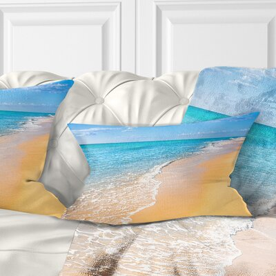 Tropical Sea and Sky Seashore Photo Pillow Size: 12 x 20, Product Type: Lumbar Pillow
