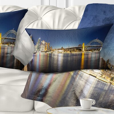 Sydney Nightfall Panorama Cityscape Pillow Size: 12 x 20, Product Type: Lumbar Pillow