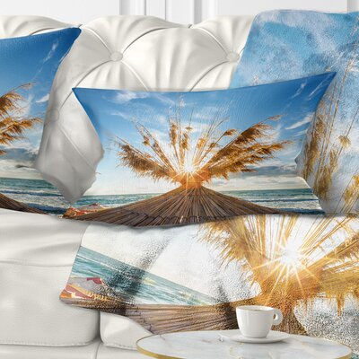 Vivid Sunrise on Sandy Beach Seascape Pillow Size: 12 x 20, Product Type: Lumbar Pillow