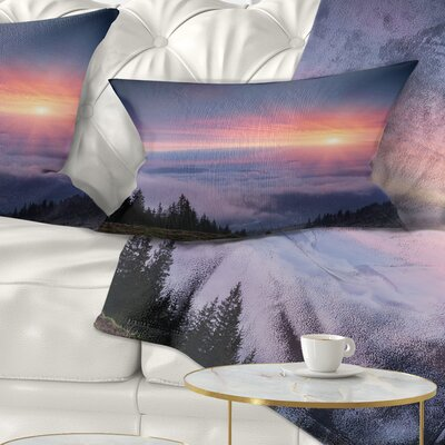 Sunrise in Sky over Mountains Landscape Photography Pillow Size: 12 x 20, Product Type: Lumbar Pillow