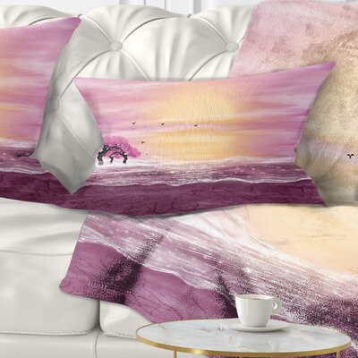 Water and Trees in Desert Landscape Printed Pillow Size: 12 x 20, Product Type: Lumbar Pillow