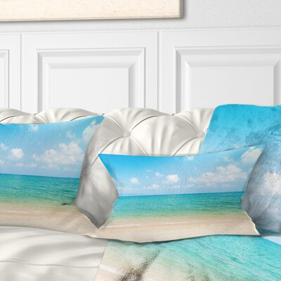 Wide View of Tropical Beach Seashore Photo Pillow Size: 12 x 20, Product Type: Lumbar Pillow