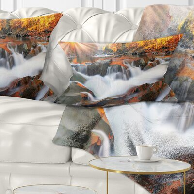 Waterfall Probiy in Prut River Landscape Photography Pillow Size: 12 x 20, Product Type: Lumbar Pillow