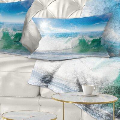 Waves Under Sun Seascape Pillow Size: 12 x 20, Product Type: Lumbar Pillow