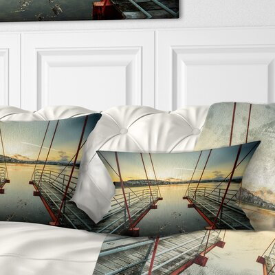 Wooden Piers for Boats in Spain Seashore Photo Pillow Size: 12