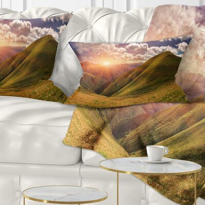 Sunrise over Mountains Landscape Photo Pillow Size: 12 x 20, Product Type: Lumbar Pillow