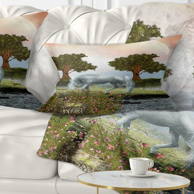 Horse and Trees Landscape Printed Pillow Size: 12 x 20, Product Type: Lumbar Pillow