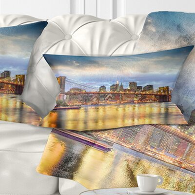 Brooklyn Bridge with Night Illumination Cityscape Pillow Size: 12 x 20, Product Type: Lumbar Pillow