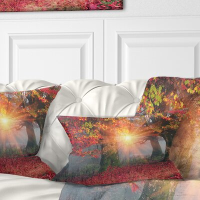 Sun in Autumn Forest Landscape Photography Pillow Size: 12 x 20, Product Type: Lumbar Pillow