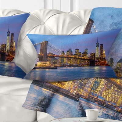 Brooklyn Bridge with Lights and Reflections Cityscape Pillow Size: 12 x 20, Product Type: Lumbar Pillow
