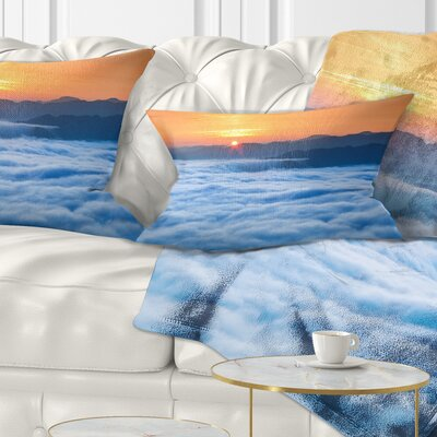 Sunrise over Misty Sea Waters Landscape Photography Pillow Size: 12 x 20, Product Type: Lumbar Pillow