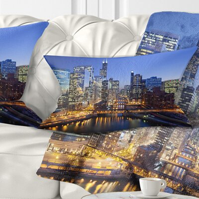 Chicago River with Bridges at Sunset Cityscape Pillow Size: 12 x 20, Product Type: Lumbar Pillow