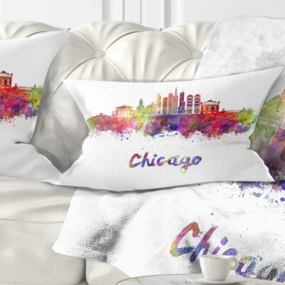 Chicago Skyline in Watercolor Cityscape Pillow Size: 12 x 20, Product Type: Lumbar Pillow