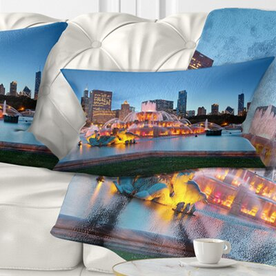 Buckingham Fountain Cityscape Pillow Size: 12 x 20, Product Type: Lumbar Pillow