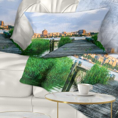 Wooden Bridge to River Warnow Landscape Printed Pillow Size: 12 x 20, Product Type: Lumbar Pillow