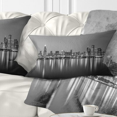 Chicago Skyline at Night Cityscape Pillow Size: 12 x 20, Product Type: Lumbar Pillow