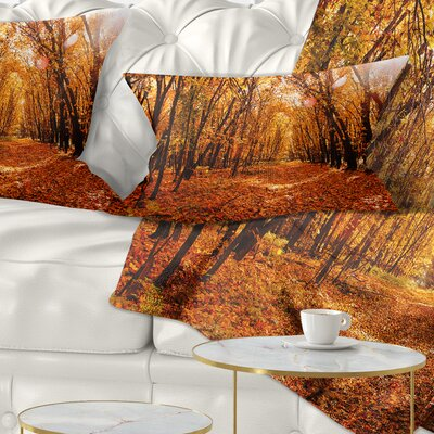 Falling Leaves in Forest Landscape Photo Pillow Size: 12 x 20, Product Type: Lumbar Pillow