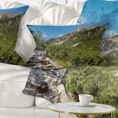 Tourist Trail in High Mountains Landscape Printed Pillow Size: 12 x 20, Product Type: Lumbar Pillow