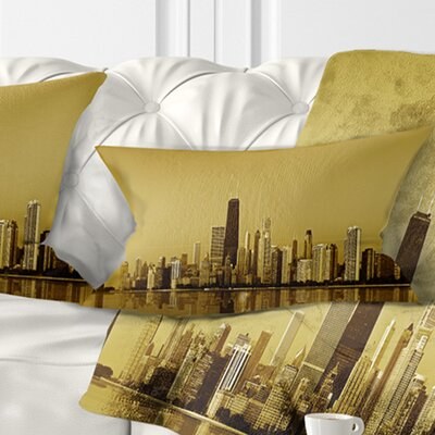 Chicago Coast with Skyscrapers Cityscape Pillow Size: 12 x 20, Product Type: Lumbar Pillow