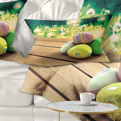Easter Eggs Landscape Photo Pillow Size: 12 x 20, Product Type: Lumbar Pillow
