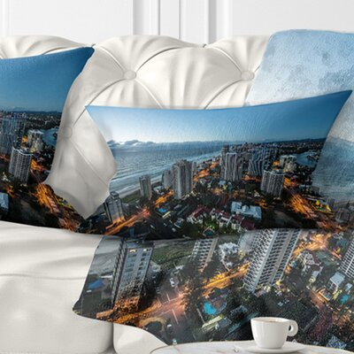 Brisbane Skyscrapers and Sea Aerial View Cityscape Pillow Size: 12 x 20, Product Type: Lumbar Pillow