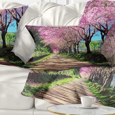 Cherry Blossom Pathway in Chiang Mai Landscape Printed Pillow Size: 12 x 20, Product Type: Lumbar Pillow