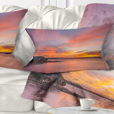 Calm Sydney Beach with Yellow Sky Seashore Pillow Size: 12 x 20, Product Type: Lumbar Pillow