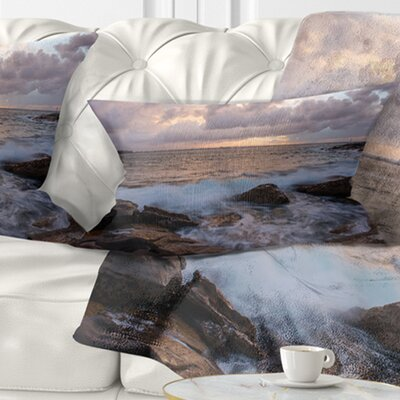 Cloudy Sky and Stormy Waves in Sydney Seashore Pillow Size: 12 x 20, Product Type: Lumbar Pillow