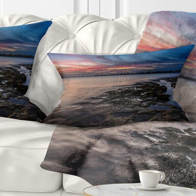 Sky and Dark Rocky Sydney Coast Seashore Pillow Size: 12 x 20, Product Type: Lumbar Pillow