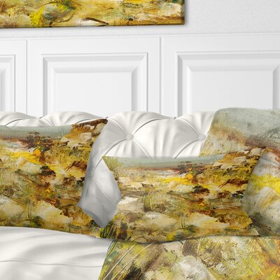 Stones Heavily Textured Landscape Painting Pillow Size: 12 x 20, Product Type: Lumbar Pillow