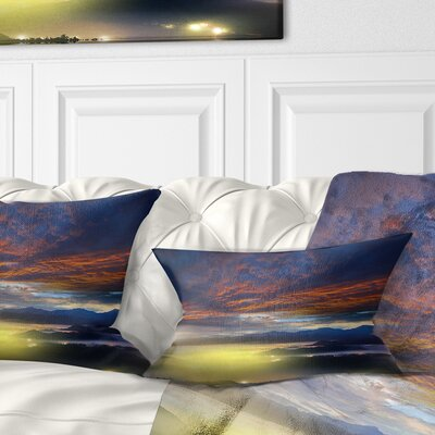 Sunlight and Fiery Clouds Landscape Photography Pillow Size: 12 x 20, Product Type: Lumbar Pillow
