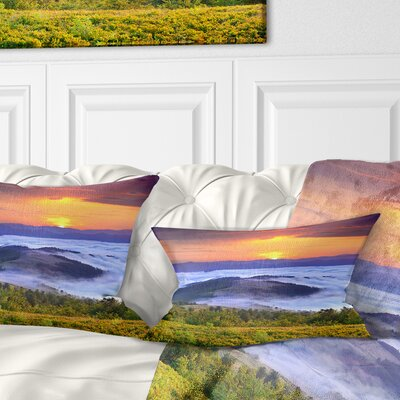 Sunrise over Water Landscape Photo Pillow Size: 12 x 20, Product Type: Lumbar Pillow