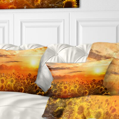 Sunset over Sunflowers Floral Pillow Size: 12 x 20, Product Type: Lumbar Pillow