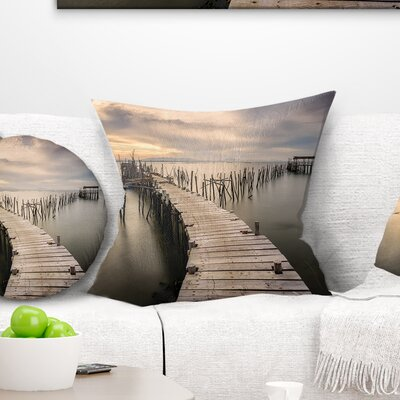 Carrasqueira Old Wooden Pier Seashore Photo Pillow Size: 18 x 18, Product Type: Throw Pillow