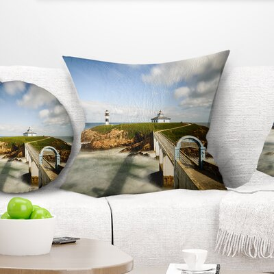Cloudy Illa Pancha Lighthouse Seashore Photo Pillow Size: 16 x 16, Product Type: Throw Pillow