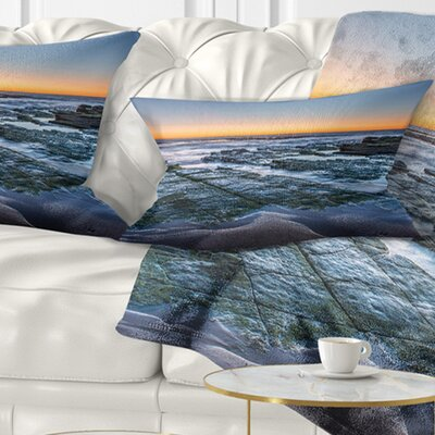 Sunrise over Wide Sydney Ocean Seashore Pillow Size: 12 x 20, Product Type: Lumbar Pillow