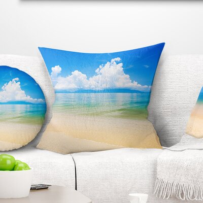 Cloudy Horizon over Sea Seashore Photo Pillow Size: 18 x 18, Product Type: Throw Pillow